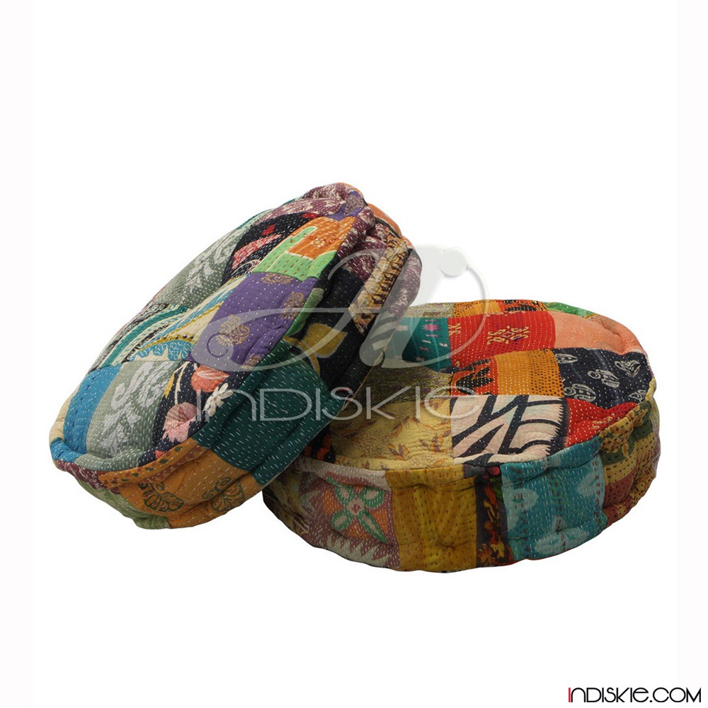 Vintage Kantha Patchwork Floor Cushion Home Textile Cushion Cover