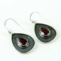 Stylish Red Garnet 925 Sterling Silver Earring, Silver Jewelry Exporter, India Fashion Silver Jewelry