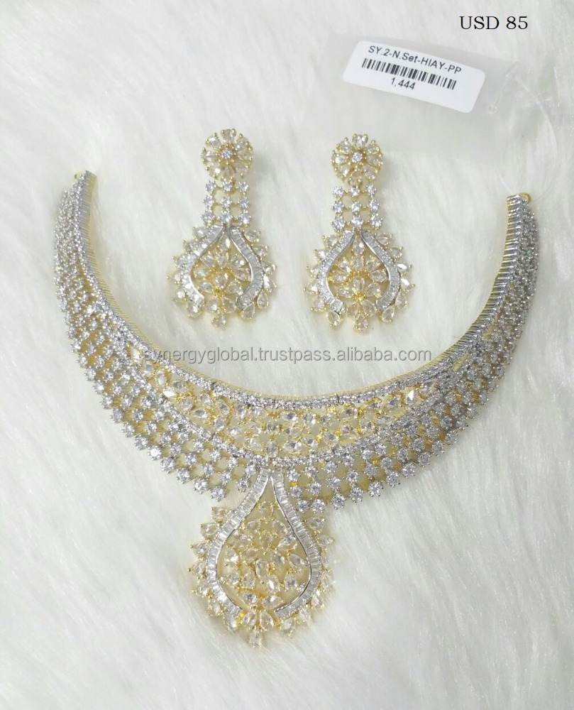 Modern and elegant american diamond necklace set for european and american market