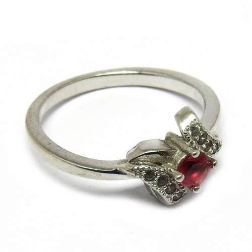 Engagement Pink CZ_White CZ 925 Sterling Silver Gemstone Ring, Wholesale Silver Jewelry, Unique Silver Jewelry