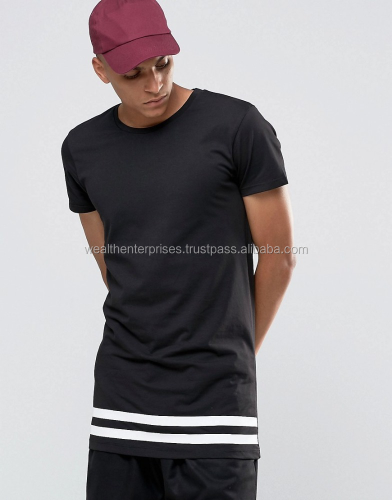 Long Line T-shirt with Striped Hem/Custom Long Line T-shirt with Striped Hem
