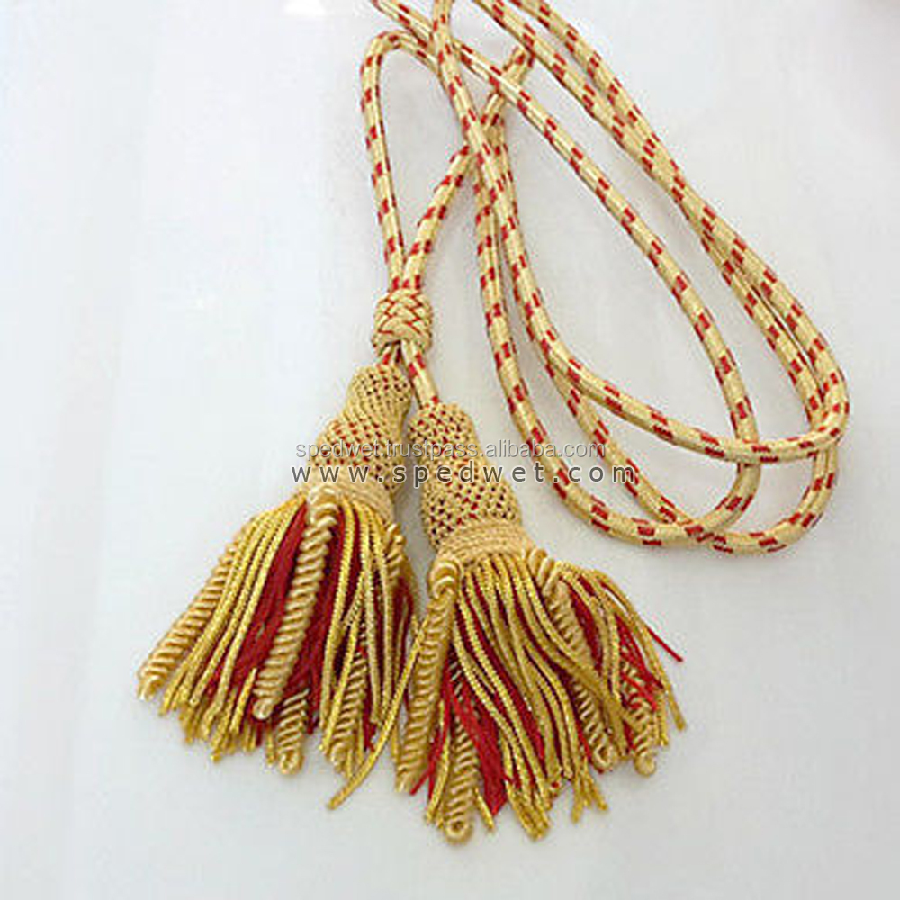 Gold and red bullion tassels