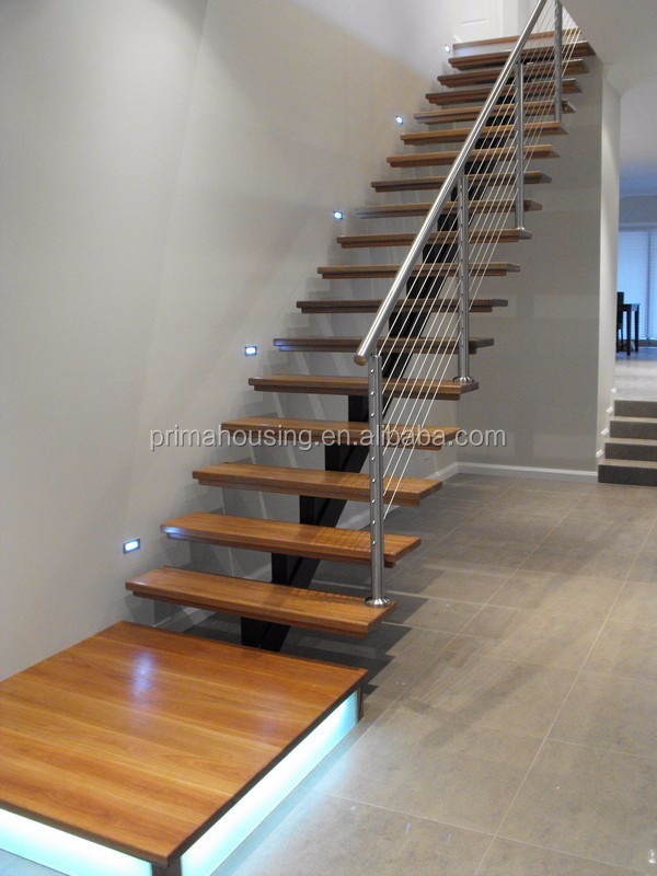 Interior Wood Low Cost Staircase Design I Type Stairs