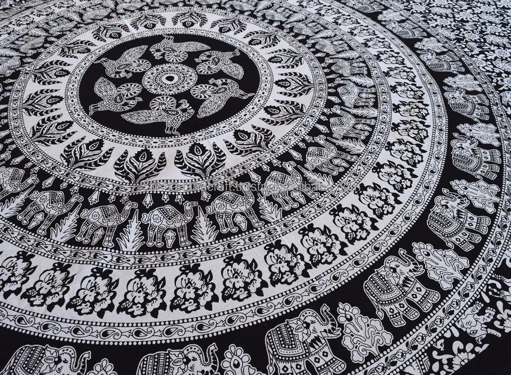 noir et blanc elephant mandala tapisserie tenture hippie indienne tapisserie cadeau de nouvel. Black Bedroom Furniture Sets. Home Design Ideas