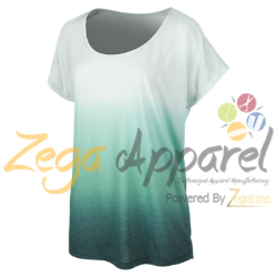 Zegaapparel green White wholesale custom dip dyeing and screen printing t shirts Dip Dye T-shirt with cool tile print