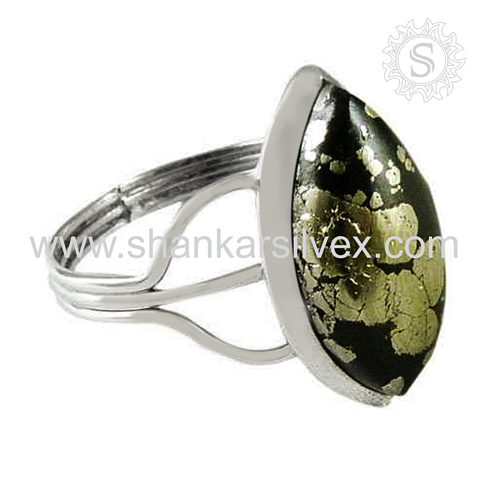 Excellent Design Pyrite Druzy Gemstone Jewelry Ring 925 Sterling Silver Jewelry Wholesaler Silver Jewelry