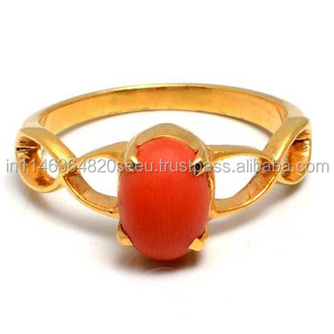 Natural Coral Ring ,Antique Coral Ring,Cabochon Ring