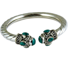 Hot Slae Green Turquoise 925 Sterling Silver Gemstone Bangle, Unique Silver Jewelry, Fashion Silver Jewelry
