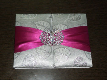 Brocade Silk Gatefold Wedding Invitation Card Box Folio Invitation