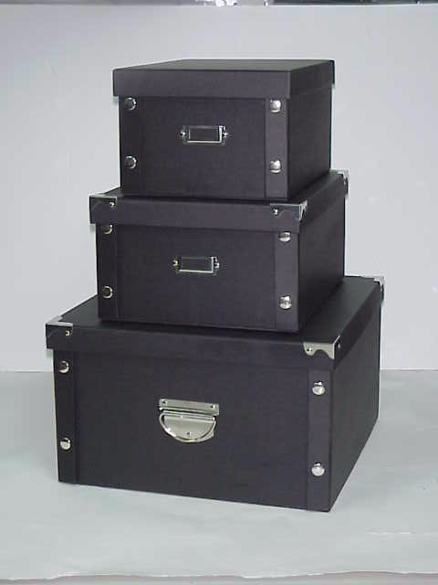 3 Pieces Set Crocodile Faux Leather Storage Boxes