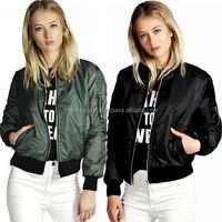 Fashion Women's Classic Bomber Jacket Ladies Vintage Zip Up Biker Coat