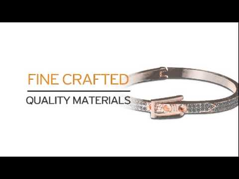 Swarovski Elements Buckle Bangle Bracelet In Rose Gold Tone - SuperJeweler.com