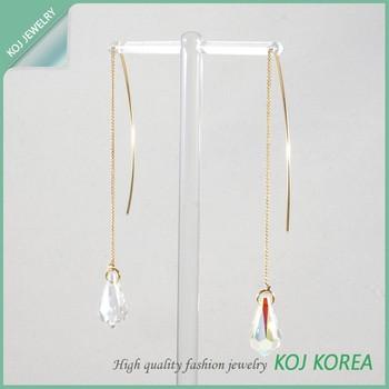Kr-587 Long Skinny Drop Shaped Earring Pierce Wholesale