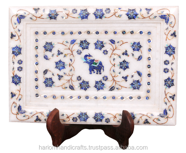 White Marble Lapis Inlay Tray Plate