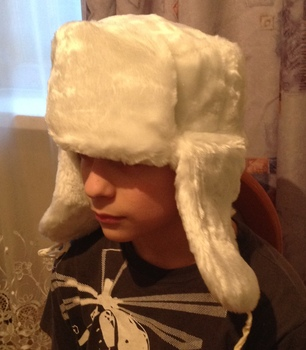 Russian Traditional Winter Hat Ushanka Faux Fur White Color 58 Size ... a71ca232b42