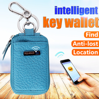 Genuine Leather Multifunctional Keychains Pouch Bag Card Holder Key Ring Wallet
