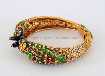 Indian Handmade Bracelet Traditional Pea Style Whole Gold Plated Meenakari Bangle