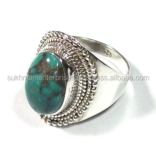 silver ring tibet turquoise jewelry natural stone rings wholesale silver jewelry