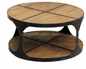 Industrial Round Iron And Wooden Coffee Tables