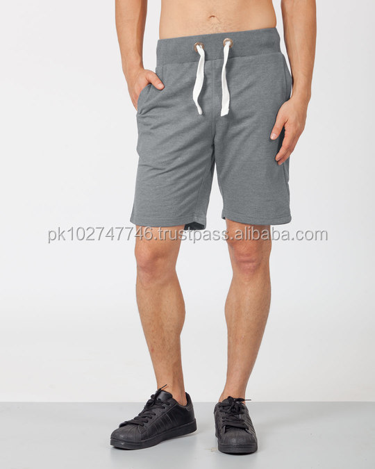 Wholesale 100% cotton custom gym athletic training shorts men