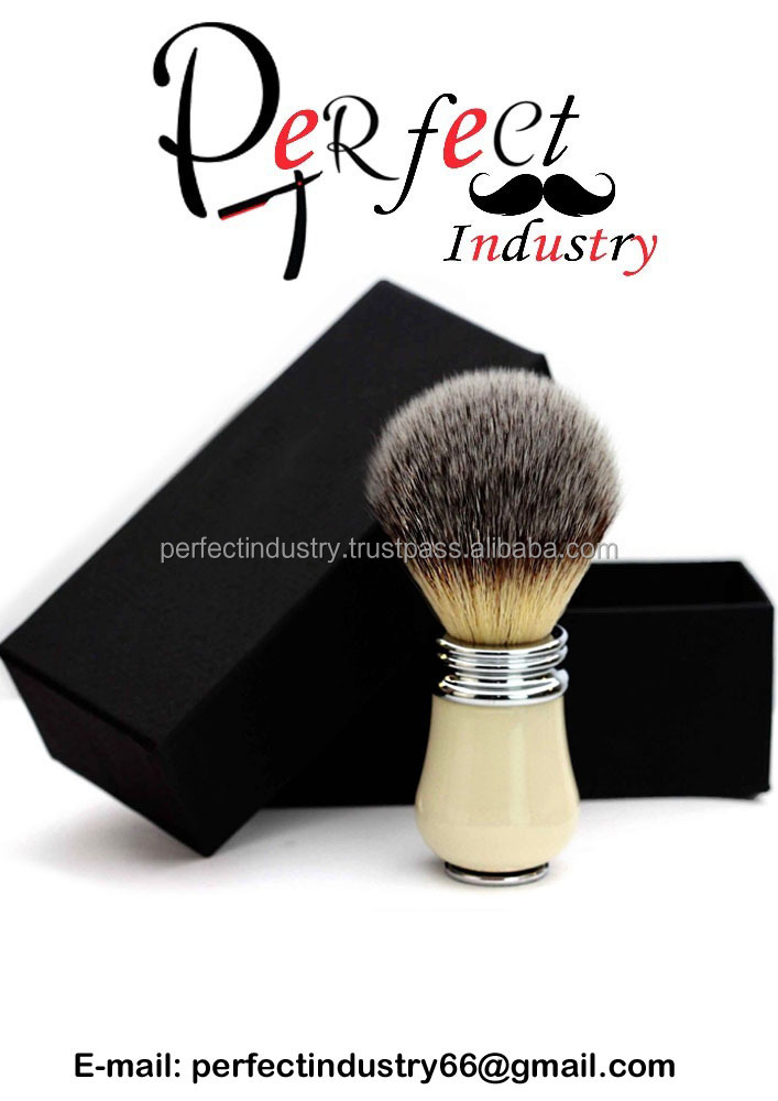 Synthetic Hair shaving brush for men's in newly designed handle in Ivory & Metal