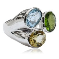 Fresh Piece Citrine_Blue Topaz_Peridot Gemstone 925 Sterling Silver Ring, Fine Silver Jewelry , Handmade Silver Jewelry