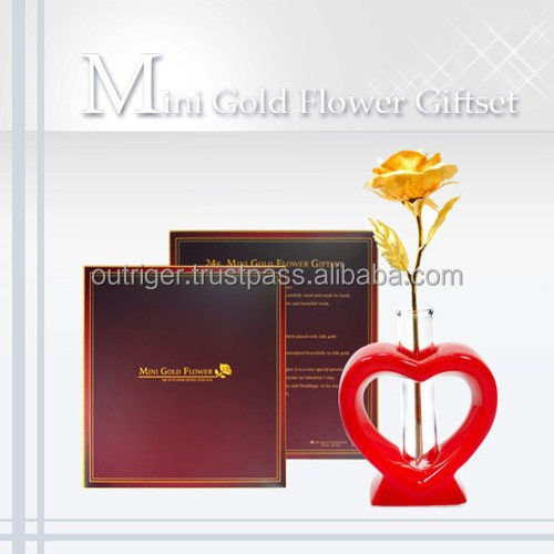 Mini Gold Rose Giftset with red heart vase / Unique giftset