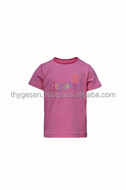 Pink tee print for little girl 100% cotton safe to even infant