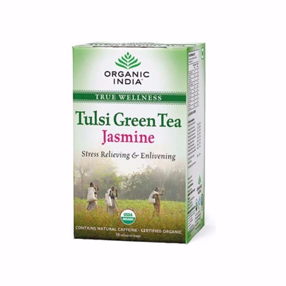 Organic India Tulsi Green Herbal Tea Jasmine- 18 Tea Bags and Aromatic