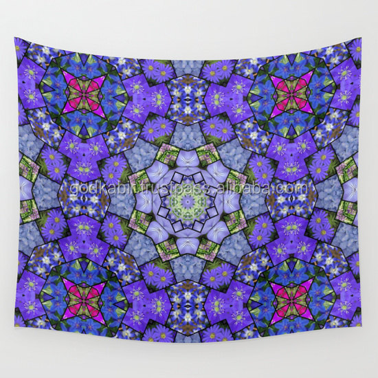 Indian Garden mosaic mandala wall tapestry blue tones garden flowers photo printed bedsheets