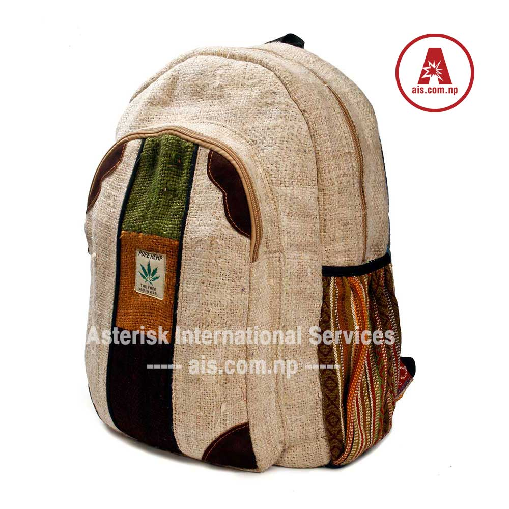 Rolpa Hemp Backpack / Handmade Nepal School College Shoulder Bag / Bookbags / Daypack with Laptop Sleeve