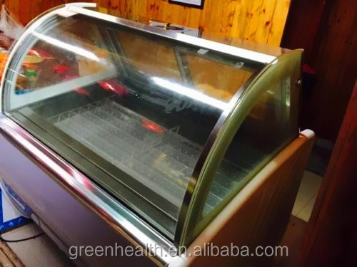 Green&Health popsicle refrigerated showcase, gelato display freezer used restaurant equipment in factory direct sale