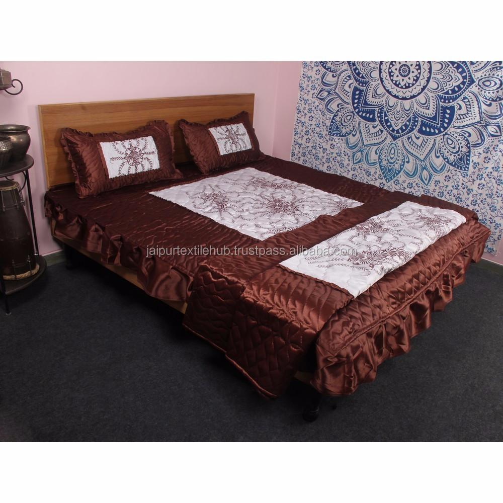 Indian Satin Silk Bed Cover Set Sheet Bedspread 4 PCs Bedding Set