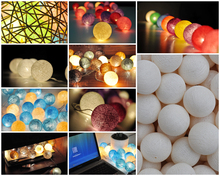 20 handmade Cotton ball string light for party/patio/holiday/Wedding happy lights decorations