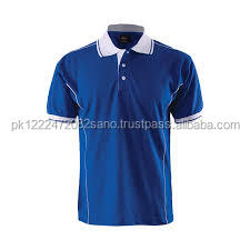 Blue Shirt with Grey Collar Strip Short Sleeve Design