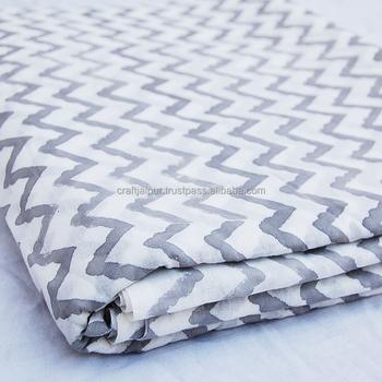 Handmade indian cotton voile hand block printed wholesale fabric