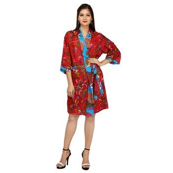 Womens Cotton Boho Bath Robe Housecoat Dressing Gown Dress Bathrobe