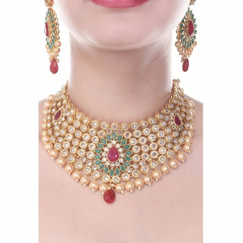 Royal Choker South Indian Style One Gram Gold Plated Exclusive Heavy Wedding Jewellery Set