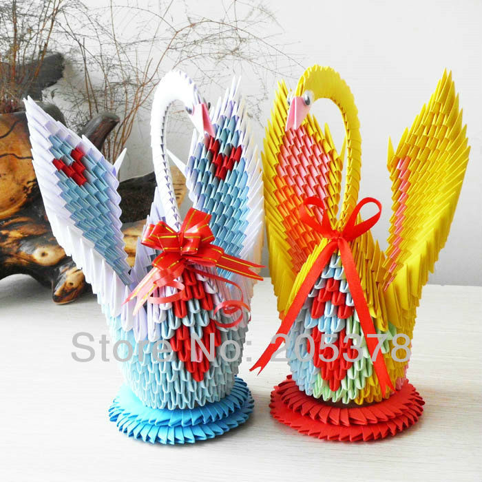 3D origami swan handmade paper beutiful gifts for gids Diy ... - photo#9