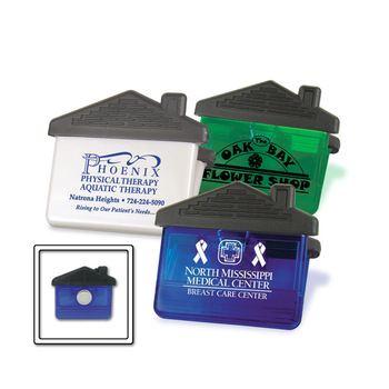 House Magnetic Clip - features a powerful, chrome-plated magnet, plus the tiger-grip clip and comes with your logo