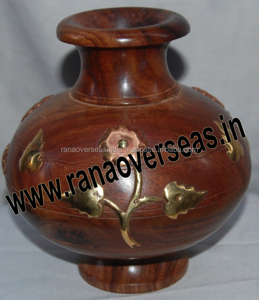 Brass Inlay Decorative Wooden Flower Vase - Home, Indoor Decoration Vase