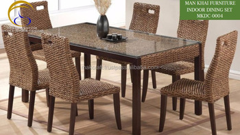 Water Hyacinth Dining Table Set Indoor Rattan Chair Italian Interior Solid Wooden