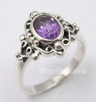 925 Pure Silver Unseen AMETHYST ART Ring Any Size 4.1 Grams INDIAN JEWELRY STORE