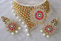 Red Pear Cut Synthetic Corundum With Pearl Round & C.Z Studded Imitation Polki Pattern Metal Jewellery Necklace Set