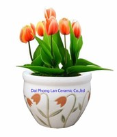 Saigon ceramic pot with design tulip flower