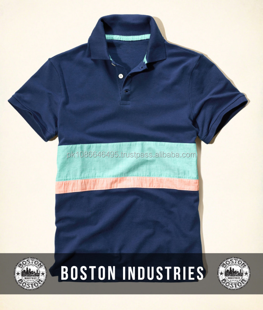 Custom Mens Striped Polo Shirt 100 Cotton With Your Embroidered