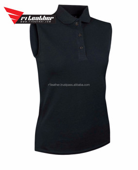 Custom womens black slim fit sleeveless golf polo shirt for Women s dri fit polo shirts wholesale