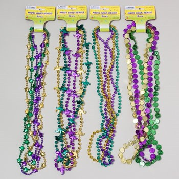 MARDI GRAS NECKLACE/BEADS 4ASST STYLES 3CT OR 6CT #G24374