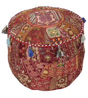 vintage look beautiful indian floor stool ottoman and pouf online