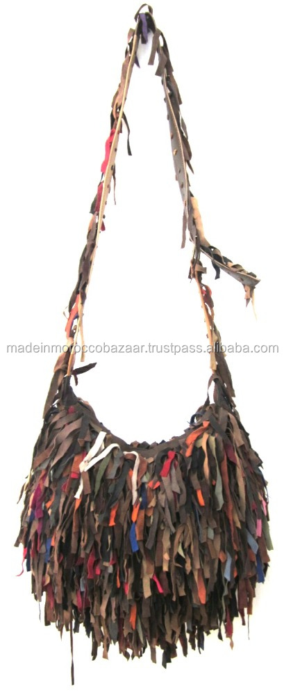 Attractive Handmade Genuine Leather Colorful Fringe Satchel